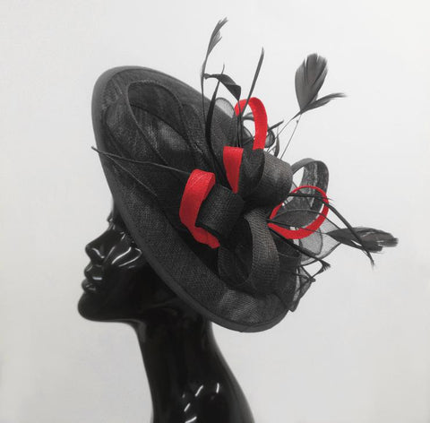 Black and Red Sinamay Hatinator Hat Fascinator on Headband by Caprilite UK Online
