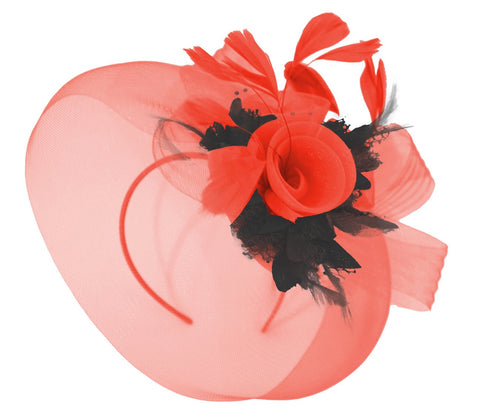 Red and Black Veil Fascinator on Headband Caprilite UK Online Store