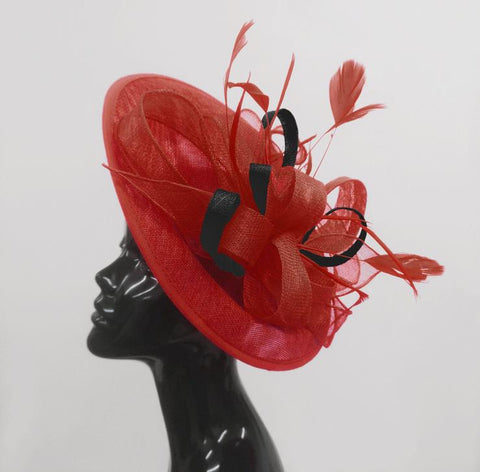 Red and Black Hatinator Fascinator Hat on Headband Disc Saucer by Caprilite UK Online Shop
