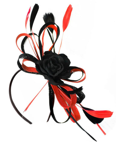 Black and Red Rose Sinamay Hoop Fascinator on Headband