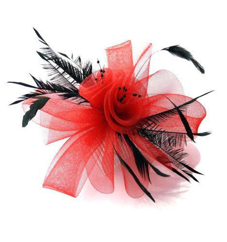 Red and Black Fascinator on comb by Caprilite UK