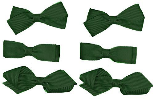 School Hair Accessories Clips for Girls 3 Pairs Bows Small Hair Grosgrain Ribbon Clips Uniform (Green)