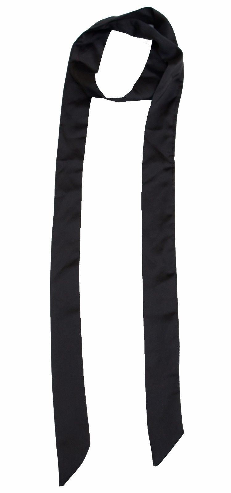 Black Long Skinny Scarf Women Mens Satin Faux Silk Long Slim Ribbon Thin