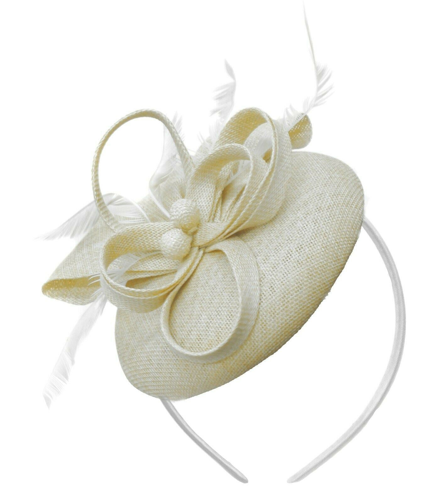 Cream Ivory Round Pillbox Bow Sinamay Headband Fascinator Weddings Ascot Hatinator Races