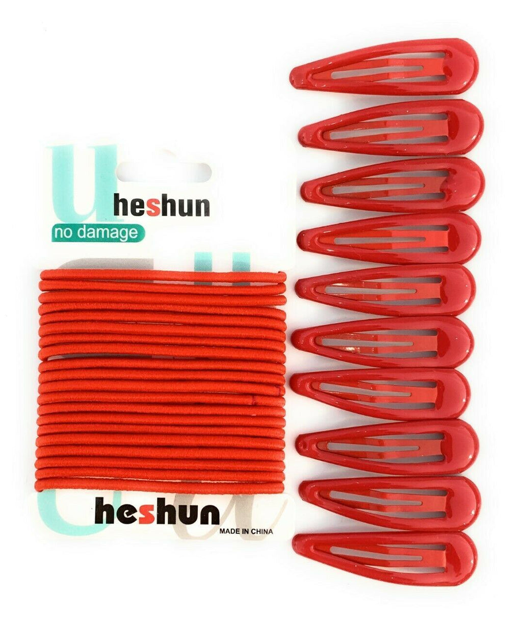 30 PCS Sleepie Elastics Hair Head Bands Snap Clips Hairbands Bobbles SCHOOL SET[Red,Full Set (Hair Elastics and Clips)]