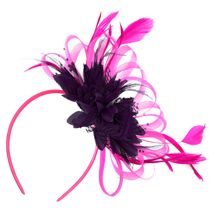 Hoop Mix - Bespoke Mixed Colour Headband Fascinator - Fuchsia and Dark Purple