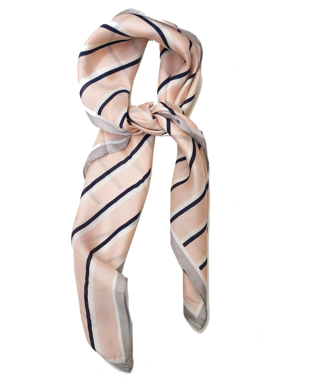 Big Square Ladies Womans Faux Silk Head Neck Thin Scarf Bag Charm - 70cm x 70cm[Black and Nude Peach Pink Stripes]