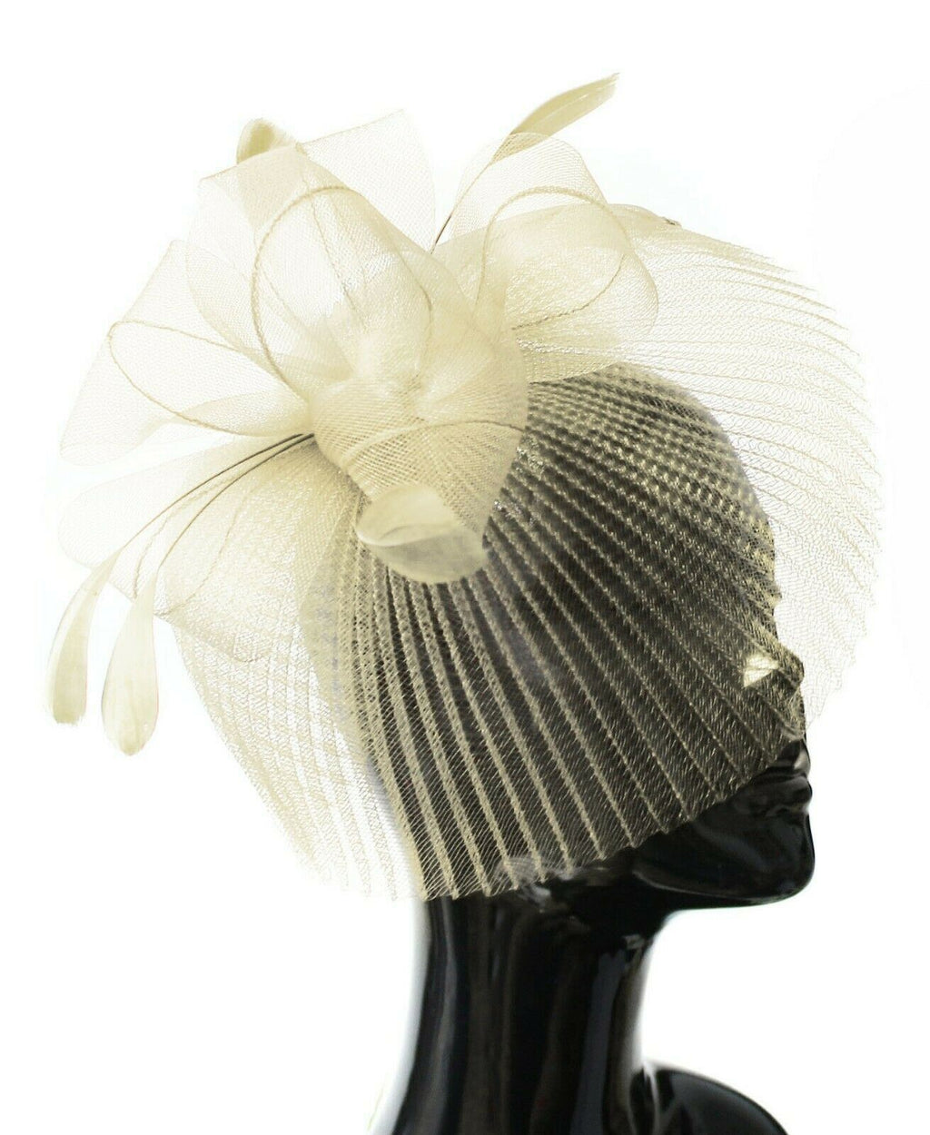 Cream Ivory Veil Fan Feathers Fascinator on Headband Wedding Races Net Hat Big