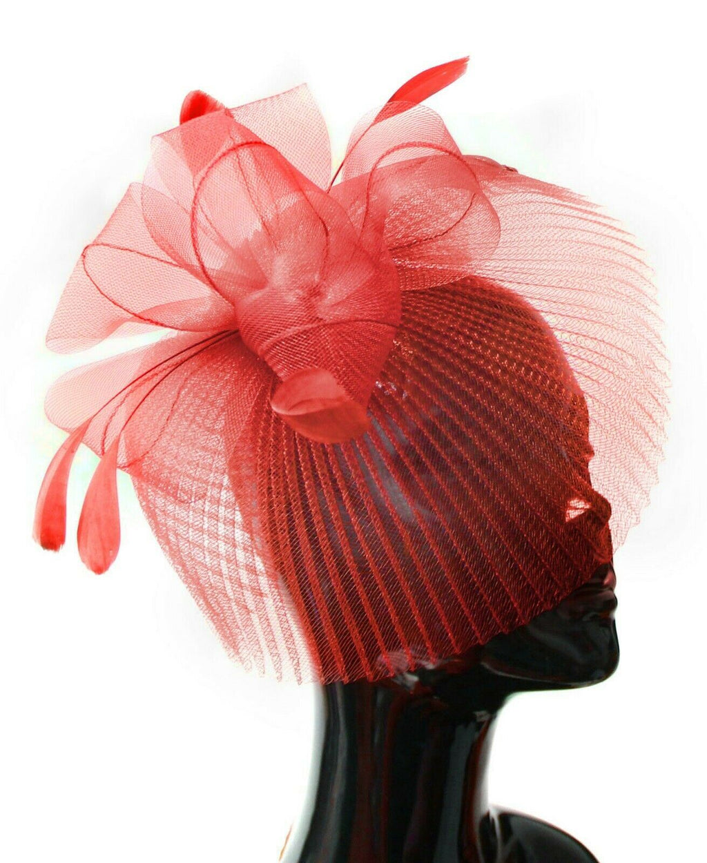 Red Veil Fan Feathers Fascinator on Headband Wedding Races Net Hat Big