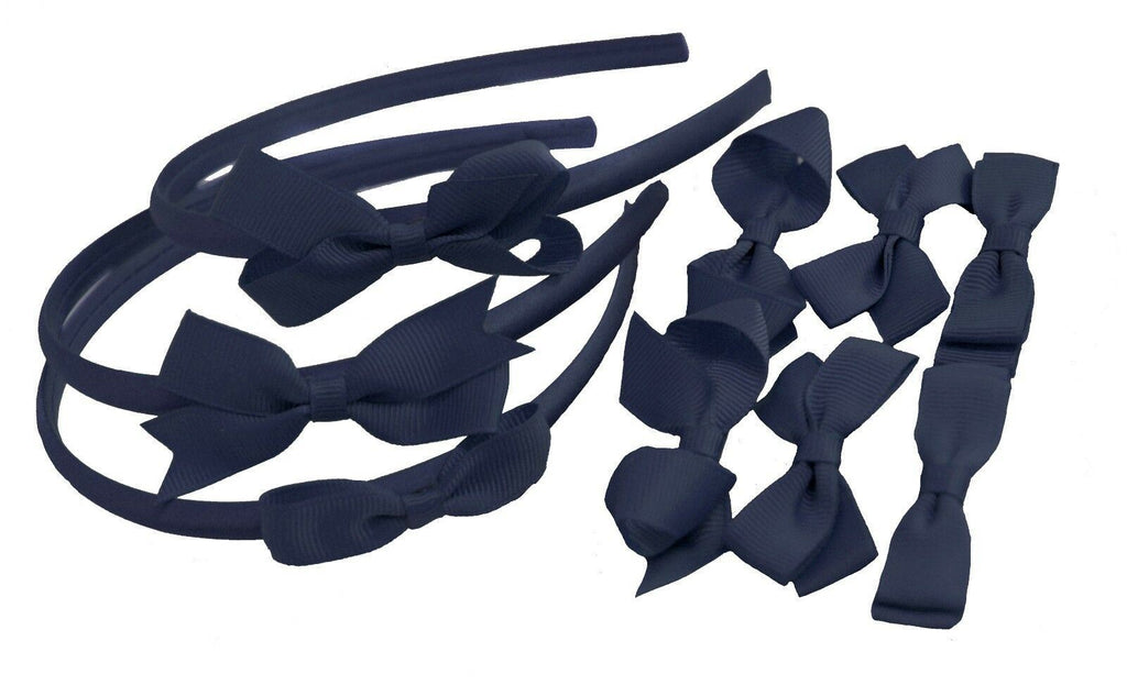 9 PIECE BUNDLE SET School Hair Bows Headbands Clips Alice Bands Uniform Colours[Navy]
