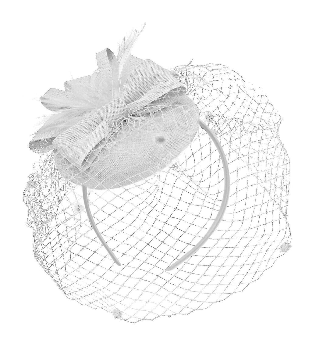White Birdcage Veil Pillbox Bow Sinamay Headband Fascinator Weddings Ascot Hatinator Races