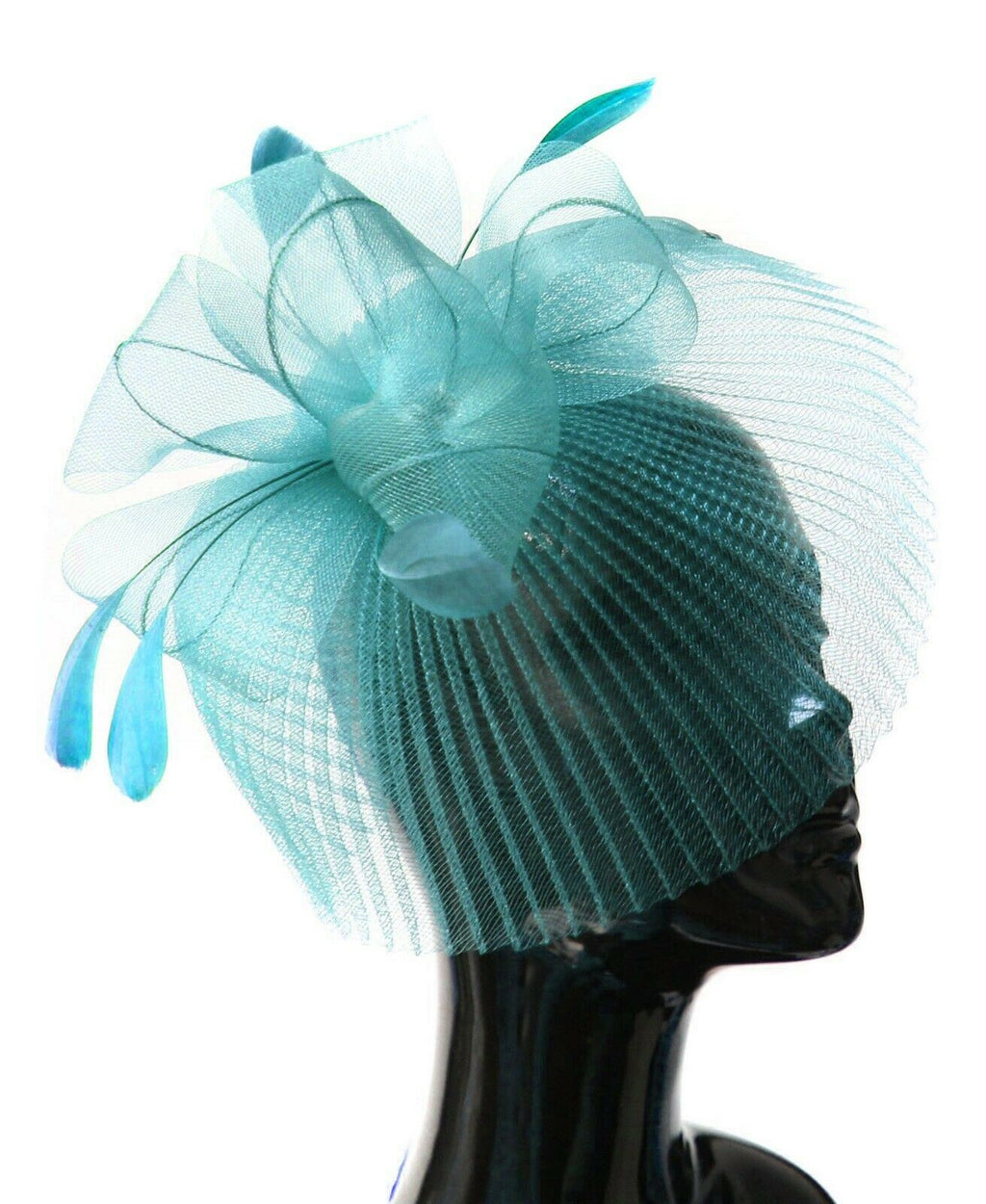 Light Blue Veil Fan Feathers Fascinator on Headband Wedding Races Net Hat Big
