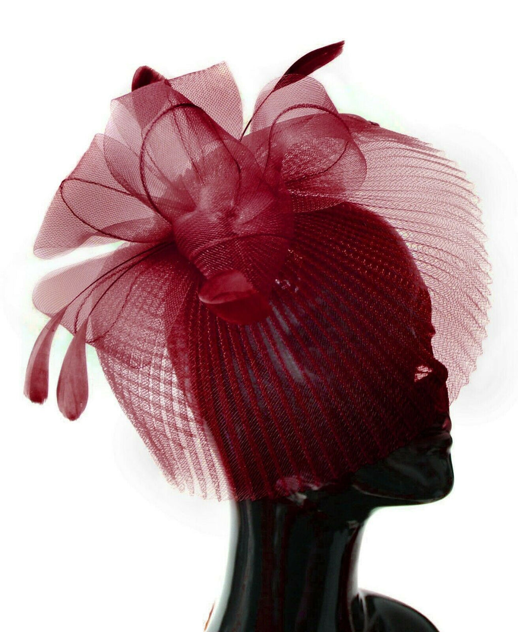 Burgundy Veil Fan Feathers Fascinator on Headband Wedding Races Net Hat Big