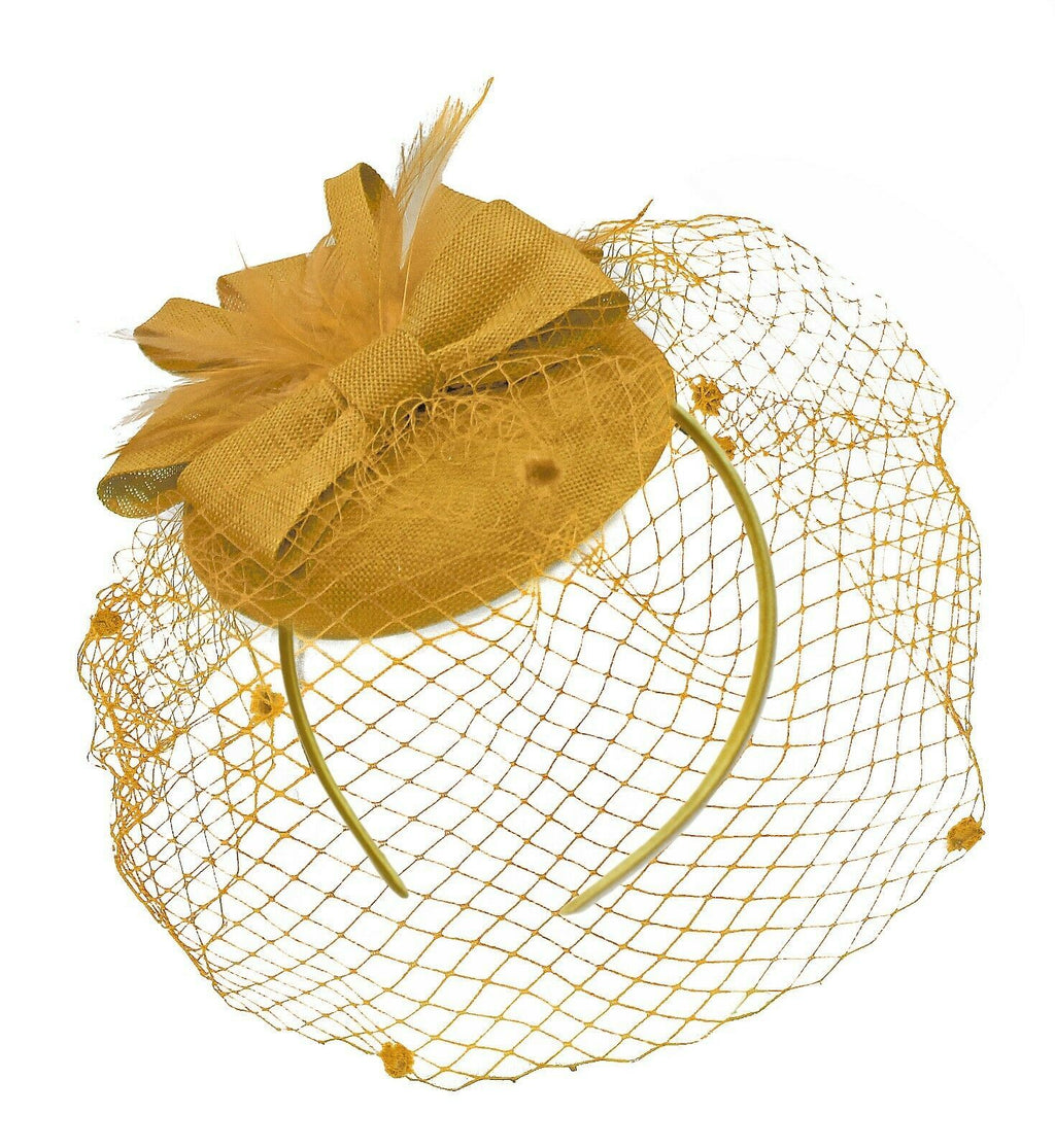 Gold Mustard Birdcage Veil Pillbox Bow Sinamay Headband Fascinator Weddings Ascot Hatinator Races