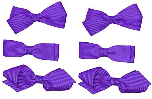 School Hair Accessories Clips for Girls 3 Pairs Bows Small Hair Grosgrain Ribbon Clips Uniform (Purple)
