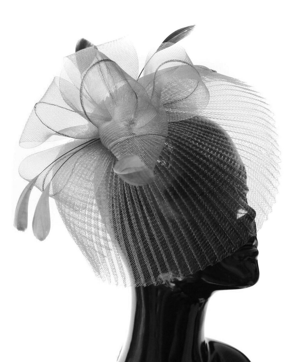 Silver Grey Veil Fan Feathers Fascinator on Headband Wedding Races Net Hat Big
