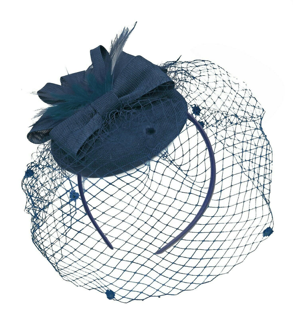 Navy Blue Birdcage Veil Pillbox Bow Sinamay Headband Fascinator Weddings Ascot Hatinator Races
