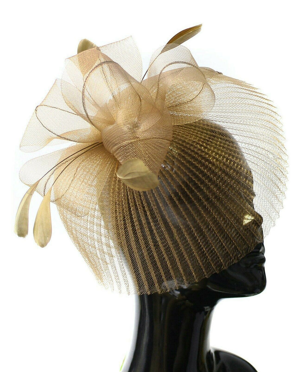 Gold Beige Veil Fan Feathers Fascinator on Headband Wedding Races Net Hat Big