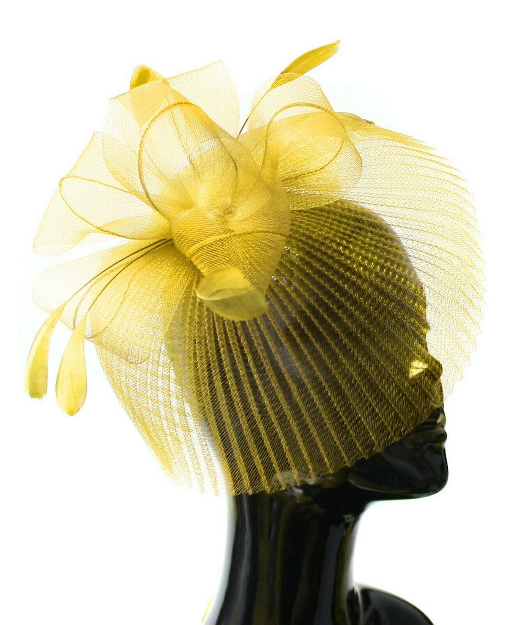 Yellow Veil Fan Feathers Fascinator on Headband Wedding Races Net Hat Big