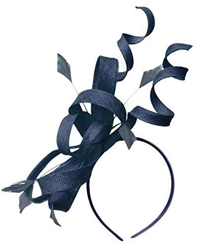 Caprilite Navy Swirl Loop Sinamay Headband Fascinator for Women Wedding Ascot Races