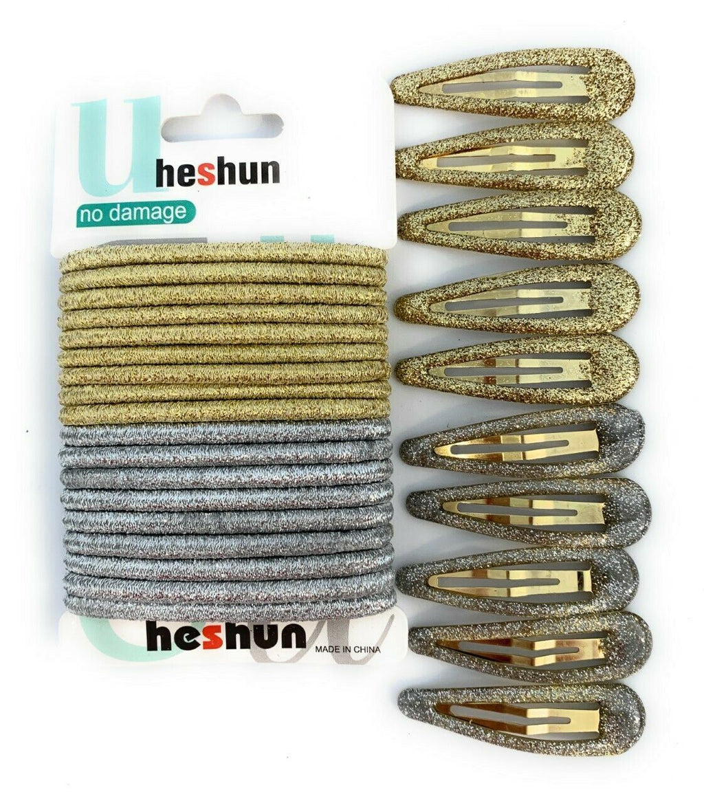 30 PCS Sleepie Elastics Hair Head Bands Snap Clips Hairbands Bobbles SCHOOL SET[Silver and Gold Mixed,Full Set (Hair Elastics and Clips)]
