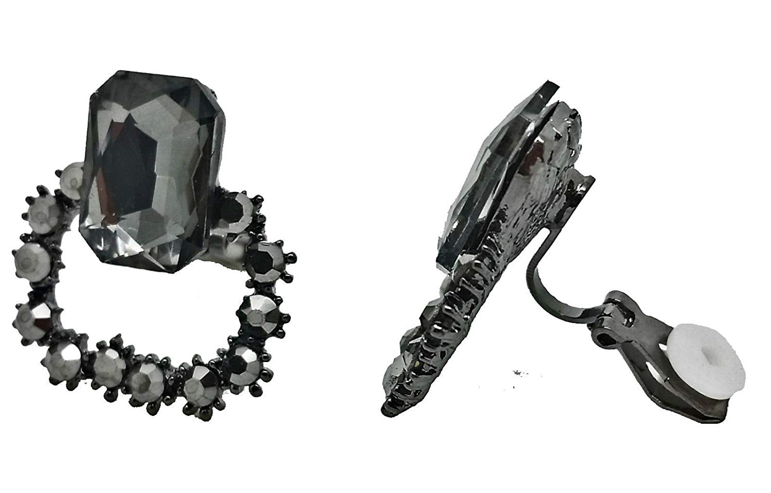 Black Crystal Gatsby Clip-On Earrings Caprilite Online UK Shop