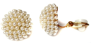 Pearl Cluster Ball Clip On Earrings Stud