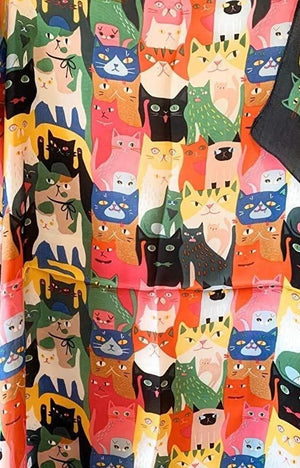 Cat Collage Scarf Thin Silky Womens Summer Spring