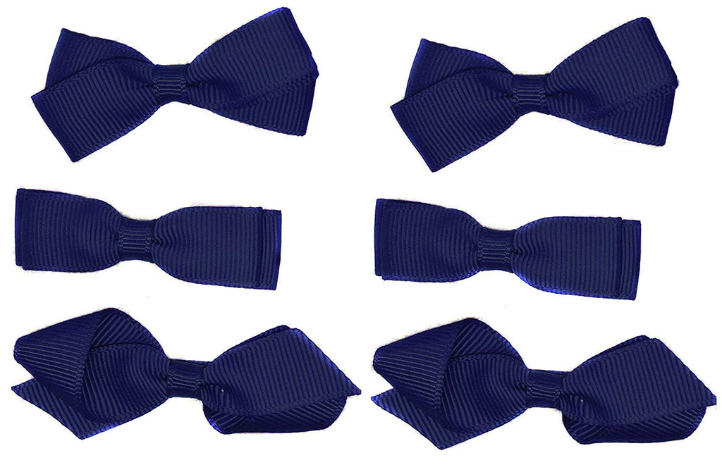 School Hair Accessories Clips for Girls 3 Pairs Bows Small Hair Grosgrain Ribbon Clips Uniform (Navy)