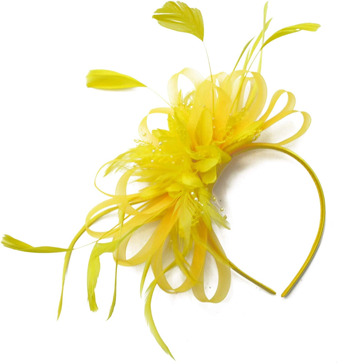 Caprilite Yellow Fascinator on Headband Alice Band UK Wedding Ascot Races Derby