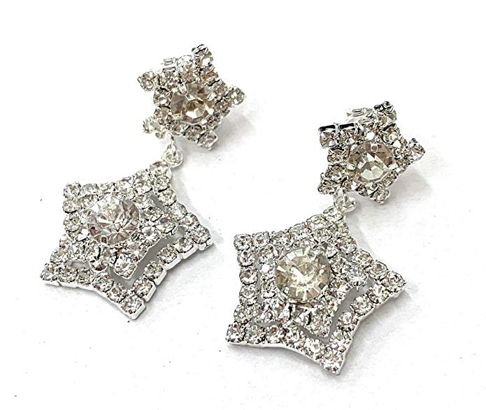 Sparkly Star Drop Dangle CLIP ON Crystal Party Earrings Bridal Womens Girls CZ Gatsby Ladies