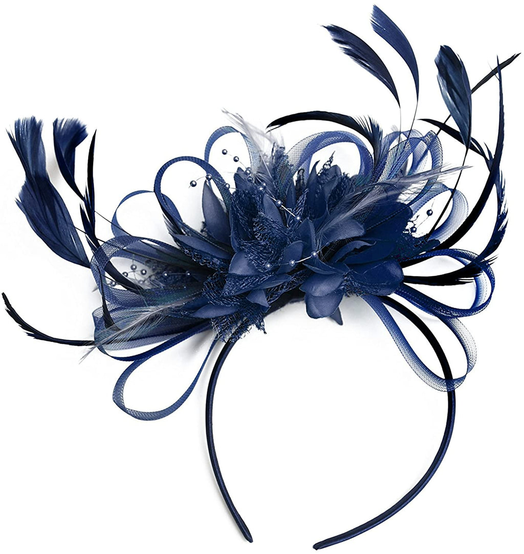 Dark Navy Blue Full Hoop Wedding Fascinator Headband