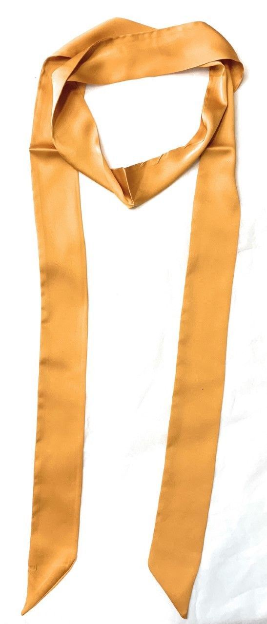 Women Skinny Scarf Satin Faux Silk Long Slim Ribbon Thin Fashion Ladies Scarves[Mustard Yellow]