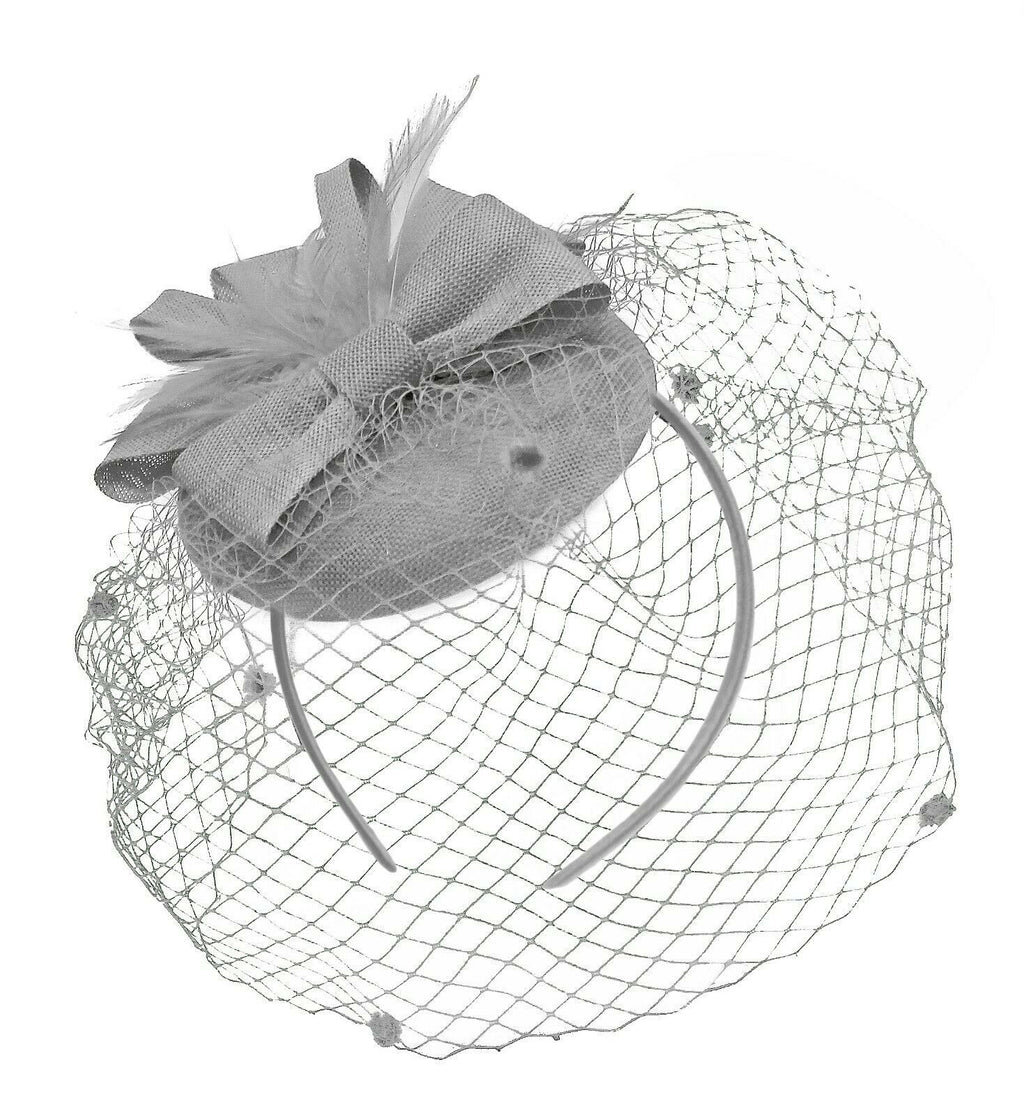 Silver Grey Birdcage Veil Pillbox Bow Sinamay Headband Fascinator Weddings Ascot Hatinator Races