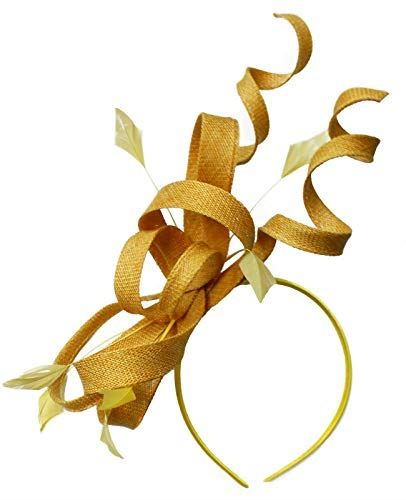 Caprilite Gold Swirl Loop Sinamay Headband Fascinator for Women Wedding Ascot Races