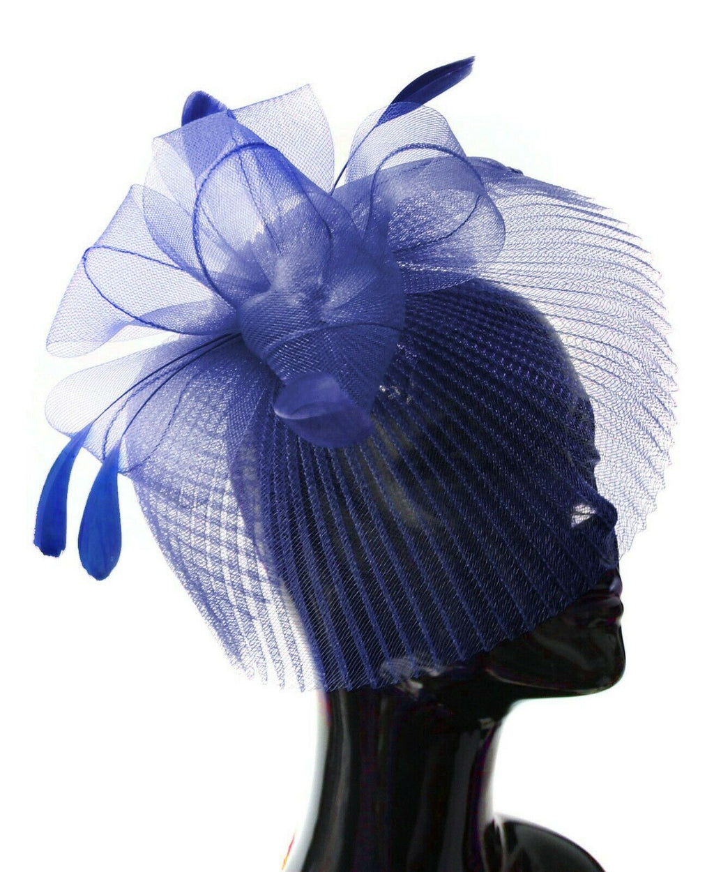 Royal Blue Veil Fan Feathers Fascinator on Headband Wedding Races Net Hat Big