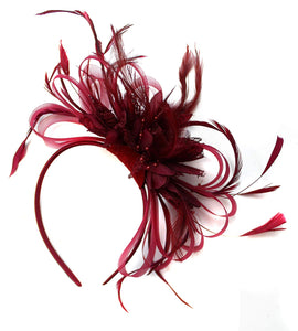 Caprilite Burgundy Wine Dark Red Fascinator Headband Alice Band Wedding Ascot Races Loop Net
