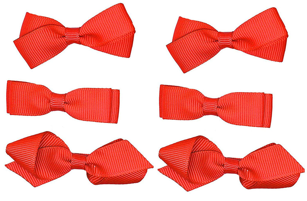 School Hair Accessories Clips for Girls 3 Pairs Bows Small Hair Grosgrain Ribbon Clips Uniform (Red)