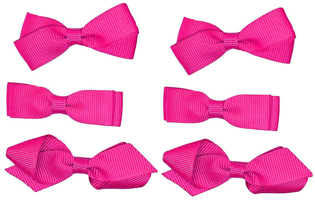 Fuchsia Hot Pink Classic 3 Pairs of Girls Kids Small Hair Bow Clips Gripes - School Uniform Colours Grosgrain Ribbon
