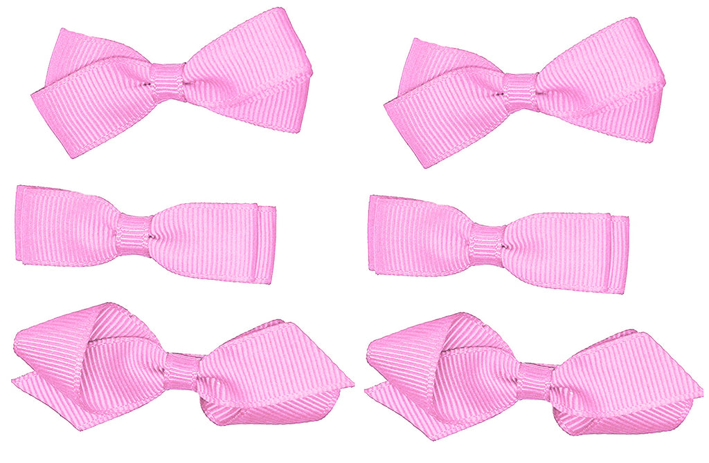 Classic 3 Pairs of Girls Kids Small Hair Bow Clips Gripes - School Uniform Colours Grosgrain Ribbon