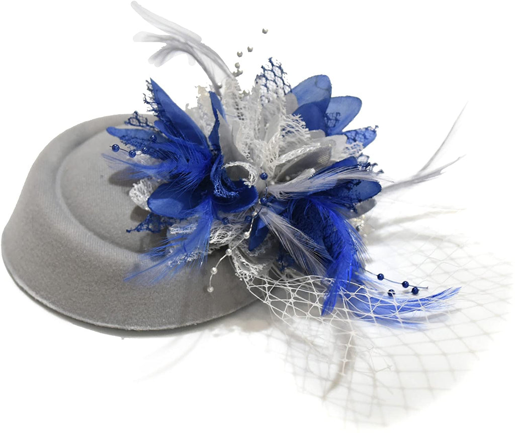 Caprilite Silver Grey and Royal Blue Fascinator Hat Pill Box Flower Veil Hatinator UK Wedding Ascot Races Clip Felt
