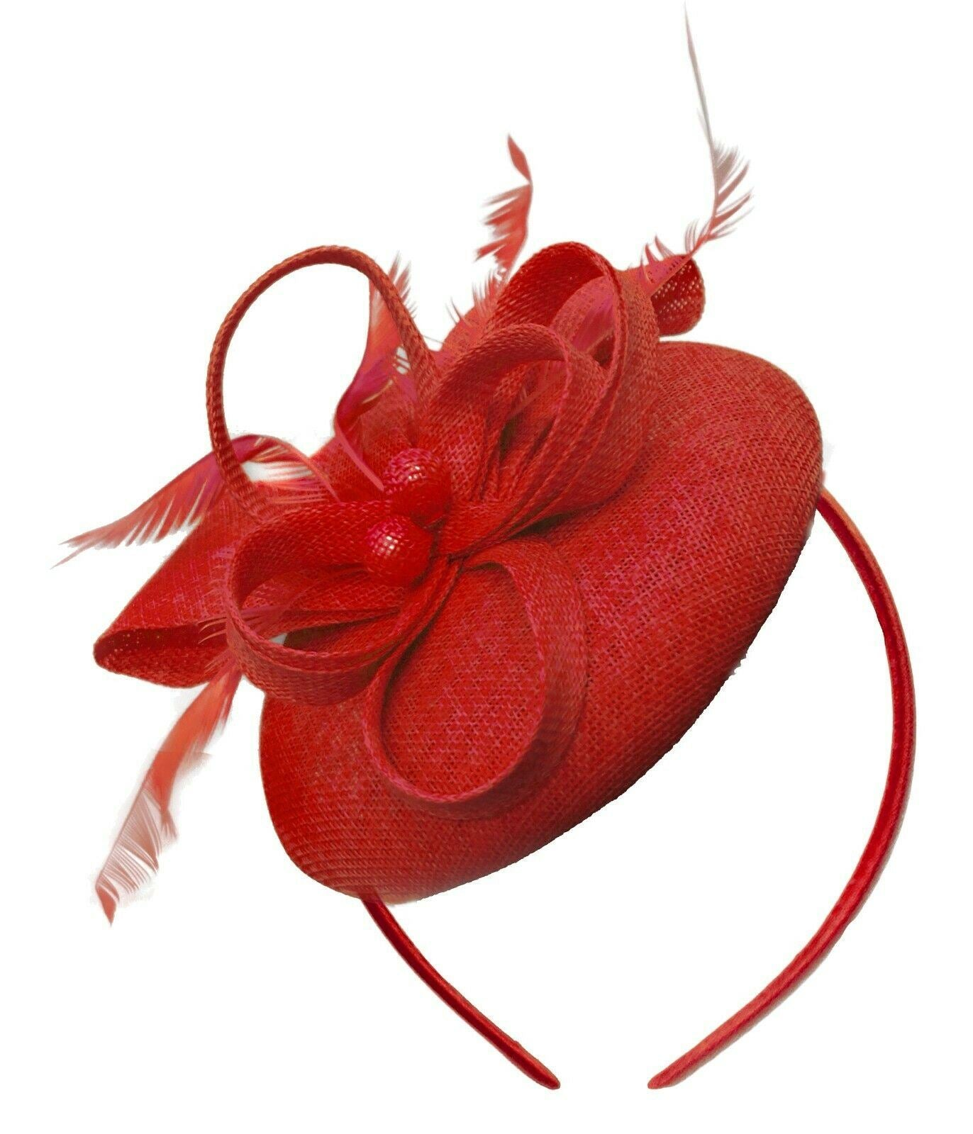 Red Round Pillbox Bow Sinamay Headband Fascinator Weddings Ascot Hatinator Races