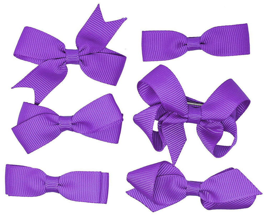 6 PIECE SET Girls Small Hair Bows Clips Grosgrain Ribbon School Uniform Colours[Purple]