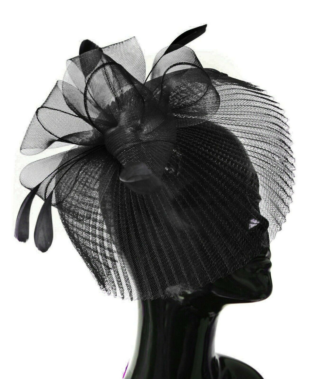 Black Veil Fan Feathers Fascinator on Headband Wedding Races Net Hat Big