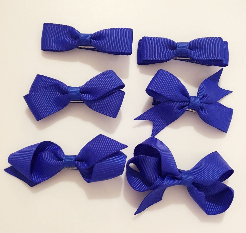 6 PIECE SET Girls Small Hair Bows Clips Grosgrain Ribbon School Uniform Colours[Royal Blue]