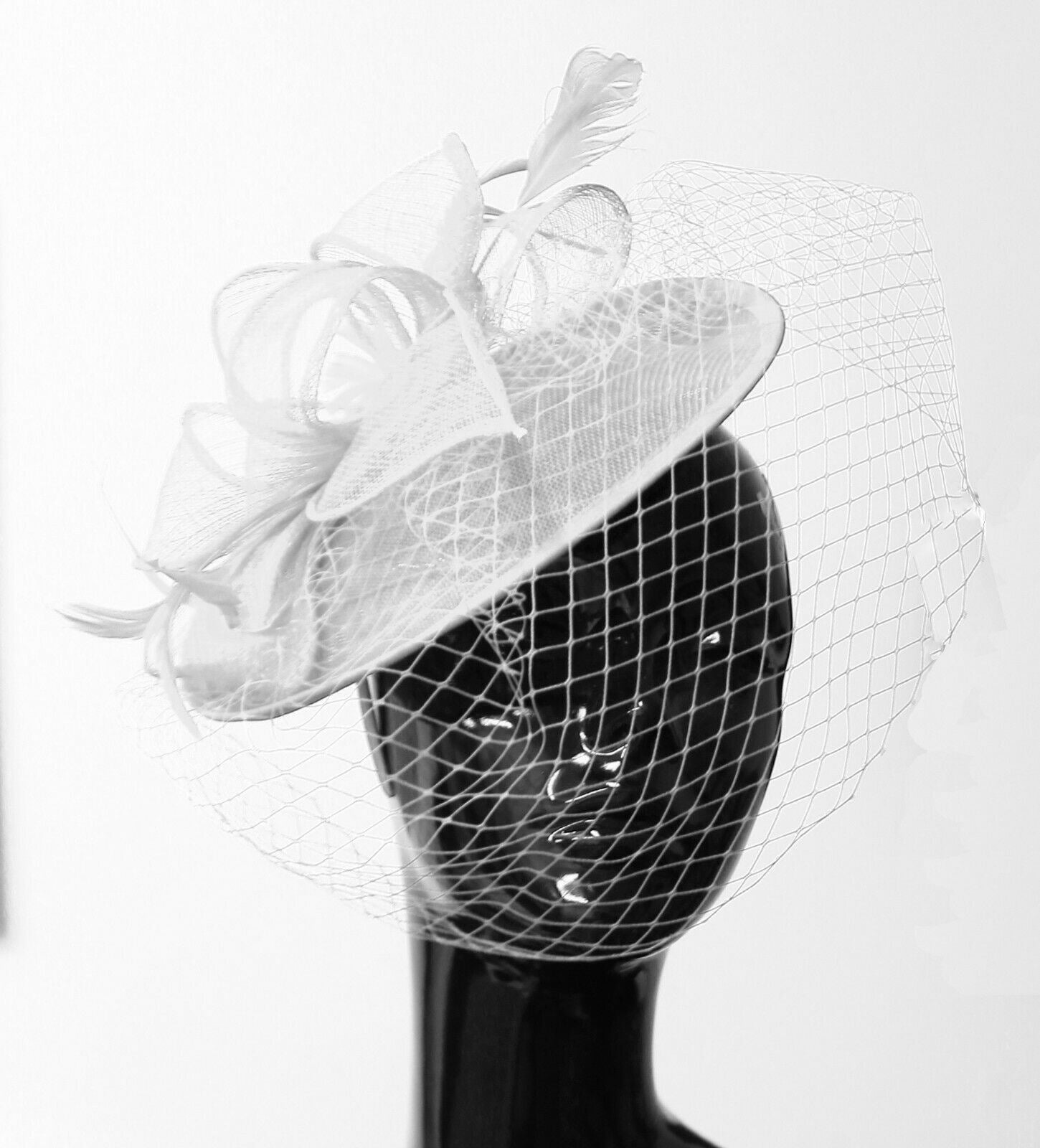 Medium Saucer Sinamay Headband Fascinator Wedding Ascot Hat Hatinator Birdcage Veil