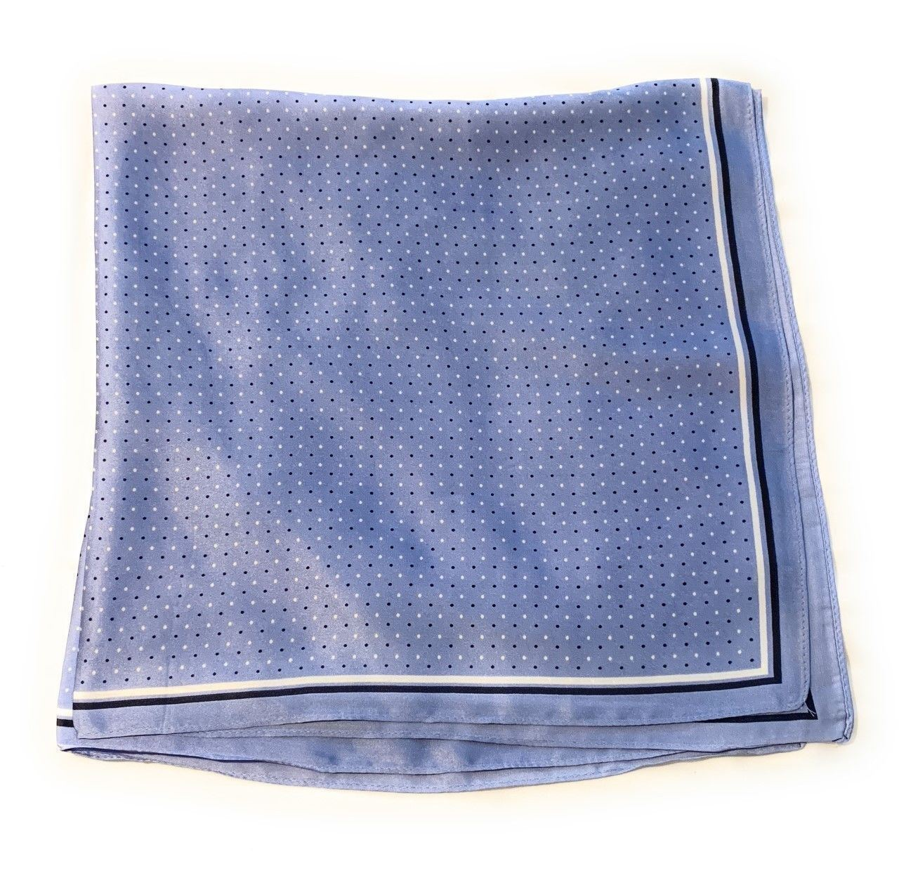Cornflower Blue Polka Dot Womens Scarf Thin Silky for Summer and Spring