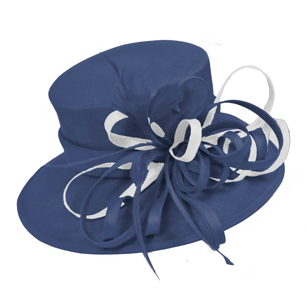 Navy and White Large Queen Brim Hat Occasion Hatinator Fascinator Weddings Formal