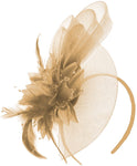 Caprilite Beige Champagne Gold Flower Veil Feathers Fascinator On Headband Wedding