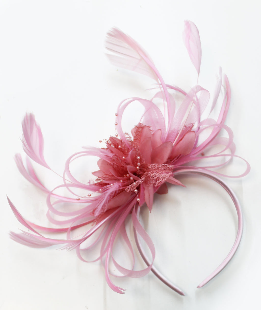 Baby Pink and Dusky Pink Hoopmix Fascinator on Headband